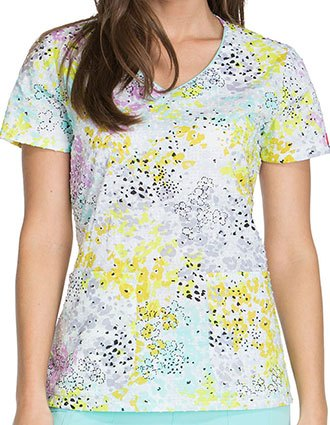 Dickies Meadow Muse Women's Wildflower Leopard V-Neck Scrub Top