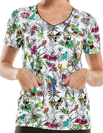 Dickies You Toucan To Me Women's Animal Print Scrub Top