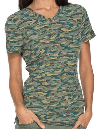 Dickies Essence Women's Get Back in Line Olive V-neck Top