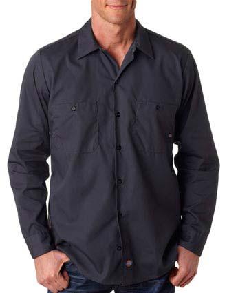 LL535 Dickies Men's Long-Sleeve Industrial Poplin Work Shirt-DI-LL535