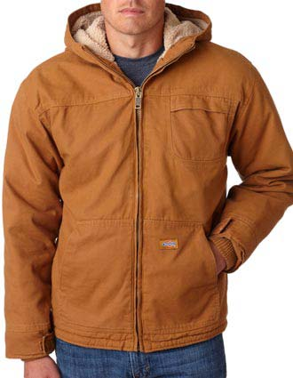 TJ350 Dickies Adult Sanded Duck Sherpa-Lined Hooded Jacket-DI-TJ350