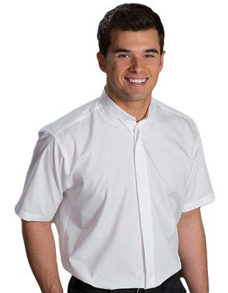 Men's Short Sleeve Banded Collar Shirt-ED-1346