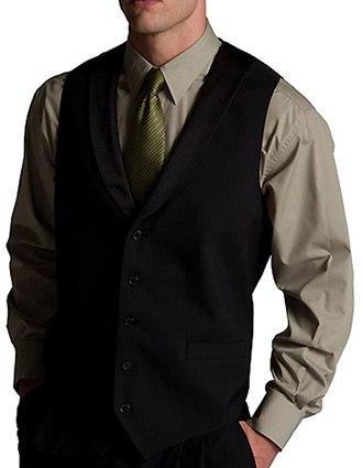Men's Black Satin Shawl Vest-ED-4495