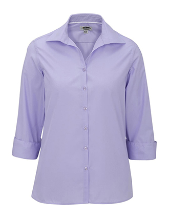 Women's Open Neck Poplin 3/4 Sleeve Blouse-ED-5040