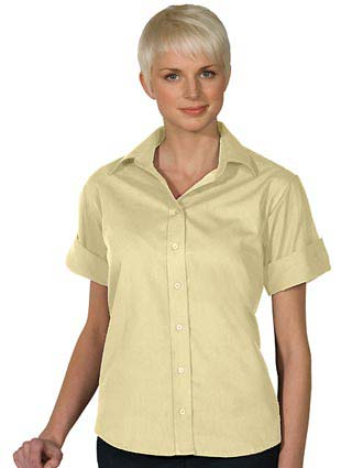 Women's Open Neck Poplin Short Sleeve Blouse-ED-5245