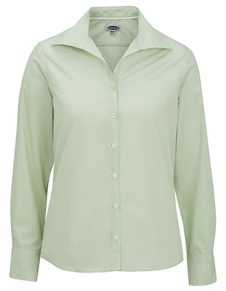 Women's Open Neck Poplin Long Sleeve Blouse-ED-5295