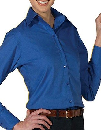 Women's Open Neck Poplin Long Sleeve Blouse