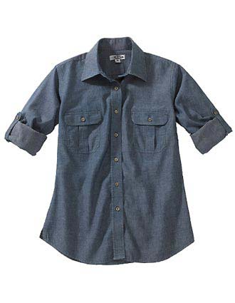 Edward Women's Chambray Roll-up Sleeve Shirt-ED-5298