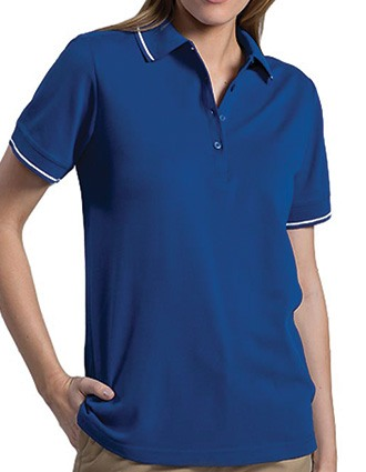 Women's Tipped Collar/cuff Blended Pique Polo-ED-5510