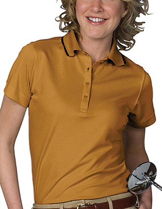 Women's Tipped Collar Dry-mesh Hi-proformance Polo-ED-5575