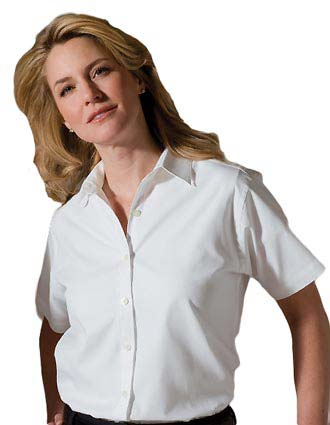 Women's Short Sleeve Pinpoint Oxford Shirt-ED-5925