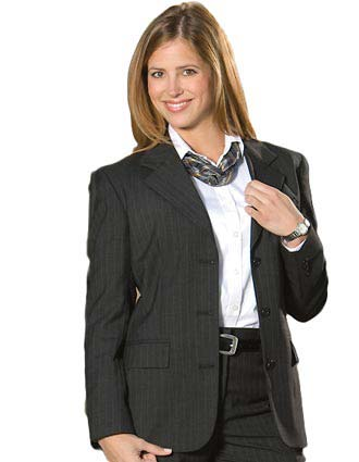 Women's Pinstripe Wool Blend Suit Coat-ED-6660