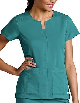 Grey's Anatomy Women's Notched Neck 3-Pockets Scrub Top