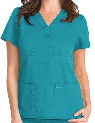 Grey's Anatomy Junior Fit Mock Wrap Nurse Scrub Top-GR-4153