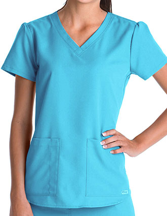 Greys Anatomy Women's Two Pocket V-Neck Shirred Back Scrub Top-GR-71166