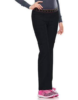 HeartSoul Women's BFF Mid-Rise Elastic Waist Cargo Scrub Pant-HE-20100