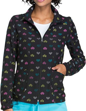 HeartSoul Deep Blue Chic Women's Heart Print Warm-Up Jacket
