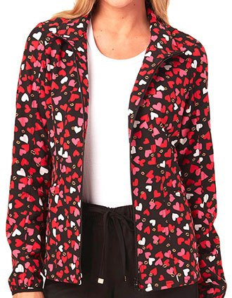 HeartSoul What's Not To Love Women's Heart Of Gold Hoodie Scrub Jacket