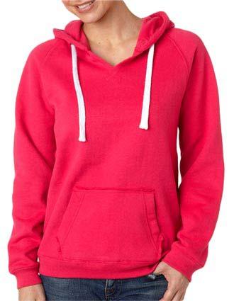 J8836 J-America Ladies' Brushed V-Neck Hooded Fleece-JA-J8836