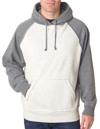 J8885 J-America Adult Vintage Heather Hooded Blended Fleece-JA-J8885