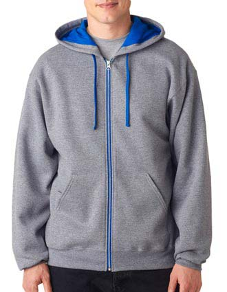 J93 Jerzees Adult NuBlend® Contrast Full-Zip Hooded Sweatshirt-JE-J93