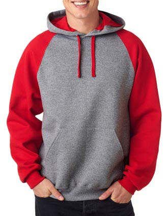 Jerzees Adult NuBlend Color Block Raglan Hooded Pullover Sweatshirt
