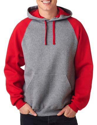 Jerzees Adult NuBlend Color Block Raglan Hooded Pullover Sweatshirt-JE-J96
