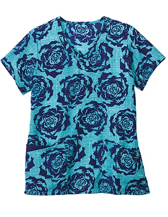 Jockey Classic Women's Painted Petals Navy V-Neck Printed Top