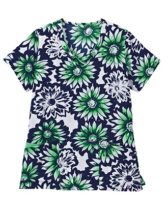 Jockey Classic Women's Stamp it Green Floral V-Neck Printed Top