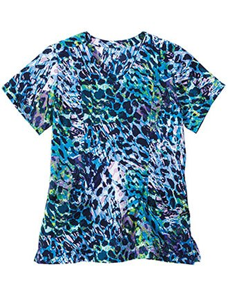Jockey Scrubs Ladies In the Jungle Blue Print Mock Wrap Top