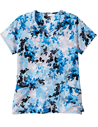 Jockey Scrubs Women's Ombre Leaves Blue Print V-neck Top