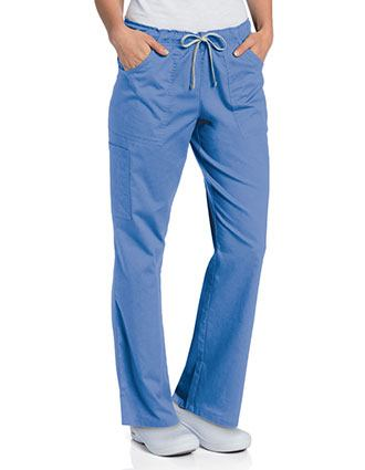 Landau Womens All Day Full Elastic Cargo Scrub Petite Pant