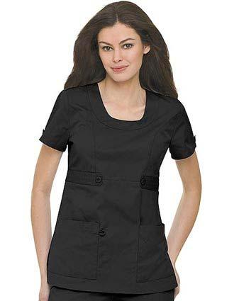 Landau Women Side Belted Twill Scrub Top-LA-4048