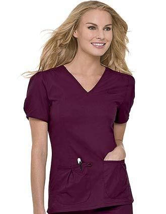 Landau Women Shirred V-Neck Twill Nurse Scrub Top-LA-4051