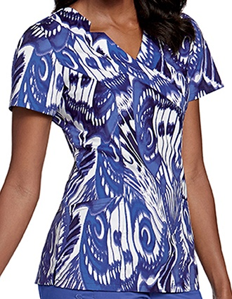 Landau Women's Notched Surplice Printed Top