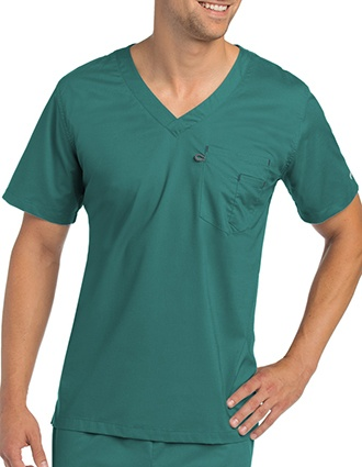Landau Stretch Unisex V-Neck Solid Scrub Top-LA-4115