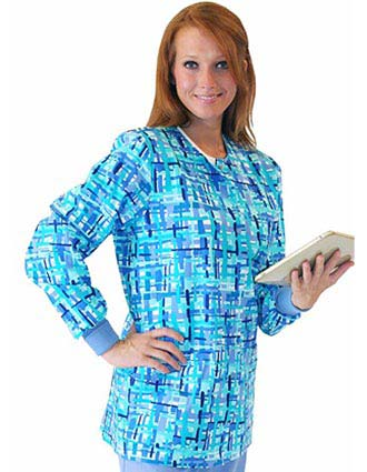 Landau Womens Crew Neck Ballou Printed Scrub Jacket