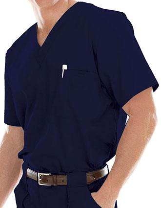Landau Platinum Mens Single Pocket Vented Solid Nurse Scrub Top-LA-7594