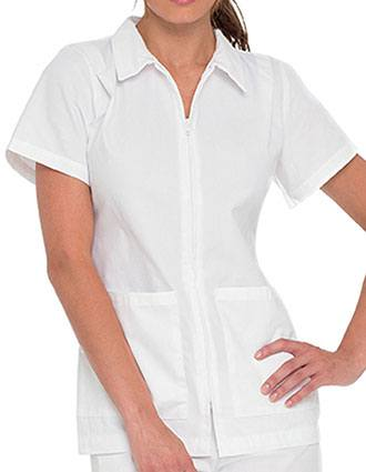 Landau Women Two Pocket Zip Front Nurses Scrub Top-LA-8058