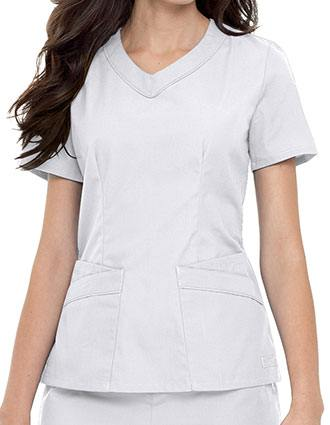 Landau Womens Four Pocket Rounded V-Neck Tunic Scrub Top-LA-8109