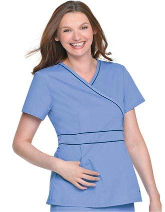 Landau Womens Two Pocket Crossover Tunic Nurses Scrub Top