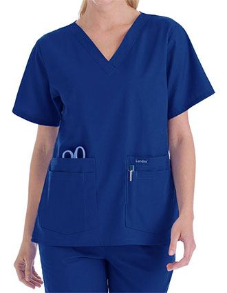 Landau Trends Womens Four Pocket V-Neck Nurse Scrub Top-LA-8219