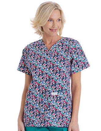 Landau Trends Womens V-Neck Young Hearts Print Nursing Scrub Top
