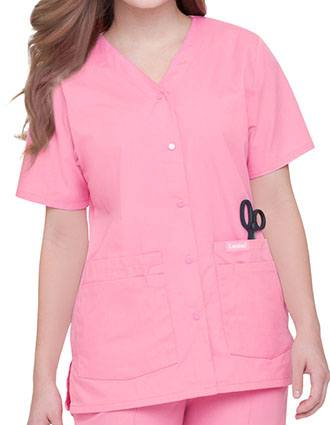 Landau Womens V-Neck Snap Front Solid Nurse Scrub Top-LA-8232