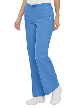 Landau Women Two Pockets Drawstring Petite Flare Leg Scrub Pants