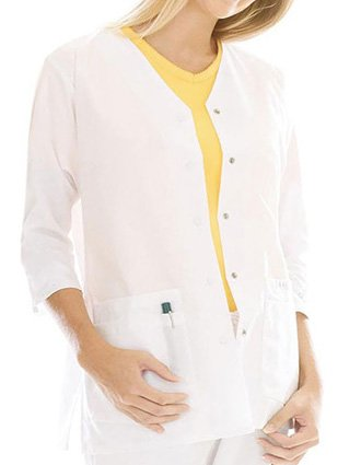 Landau Womens 3/4 Sleeve Double Pocket Tunic Medical Jacket