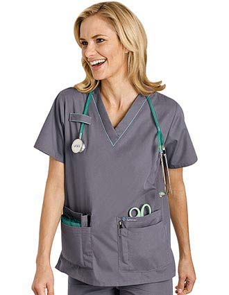 Landau Uniform Updated Style for 8219 Women Scrub Top with Piping-LA-8419