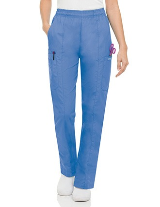 Landau Women Five Pocket Cargo Elastic Waist Scrub Pants-LA-8501