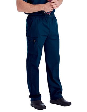 Landau Men's Cargo Pockets Elastic Waist Medical Scrub Pants-LA-8555