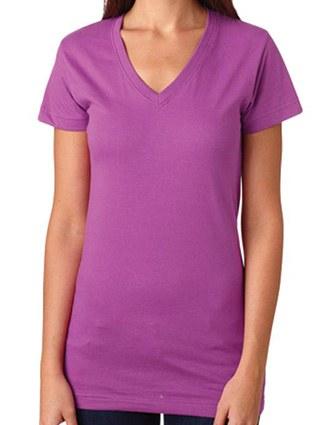 L3607 LA T Juniors' Fine Jersey V-Neck Longer Length T-Shirt
